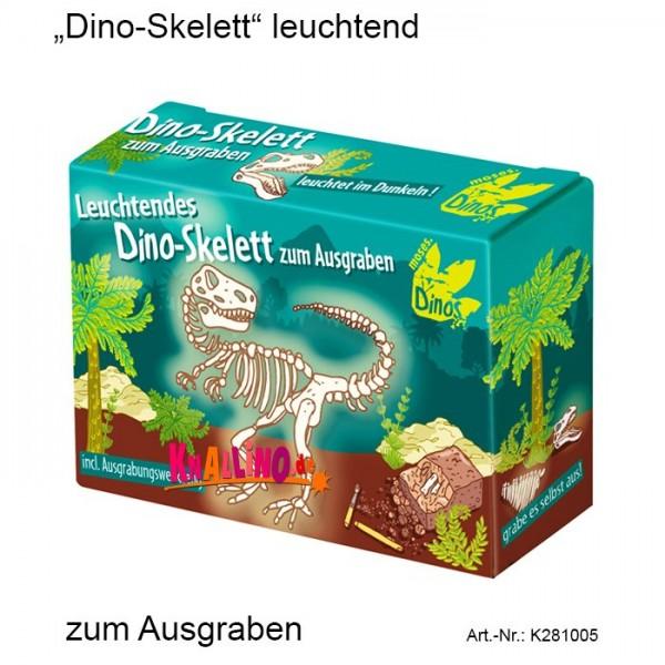 Dino-Skelett leuchtend zum Ausgraben