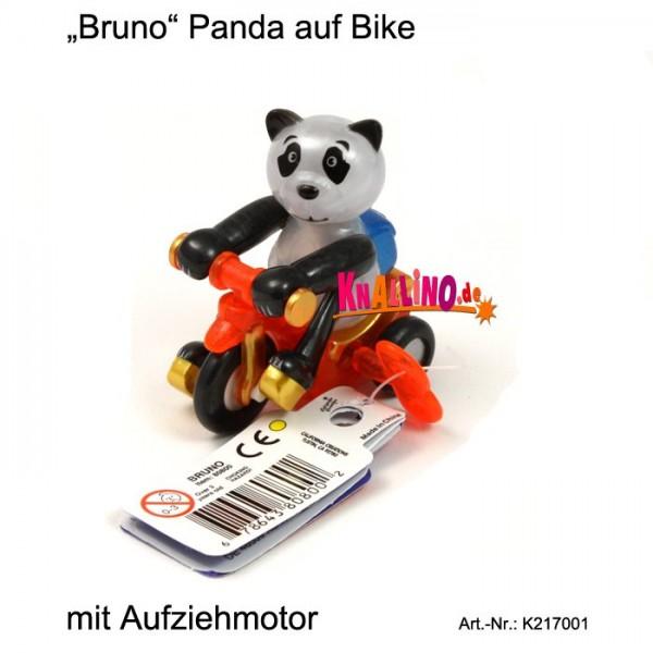Bruno Panda auf Bike mit Aufziehmotor
