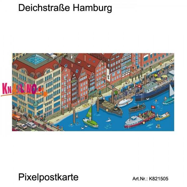 Deichstraße Hamburg Pixelpostkarte