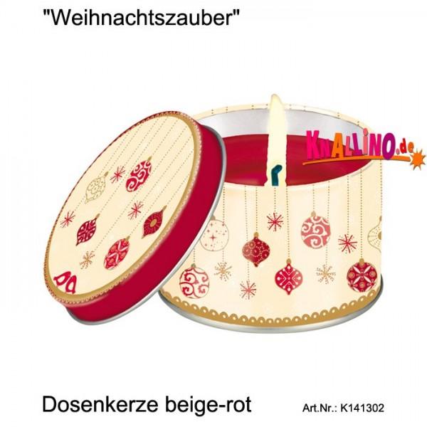 Weihnachtszauber Dosenkerze beige-rot