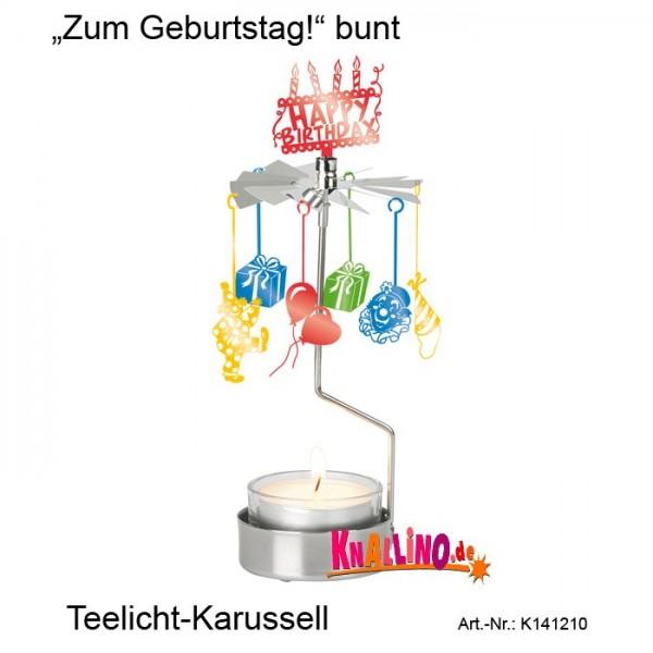 Zum Geburtstag! bunt Teelicht-Karussell