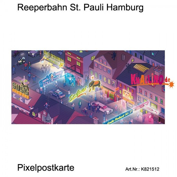 Reeperbahn St. Pauli Hamburg Pixelpostkarte