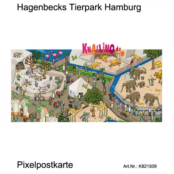 Hagenbecks Tierpark Hamburg Pixelpostkarte