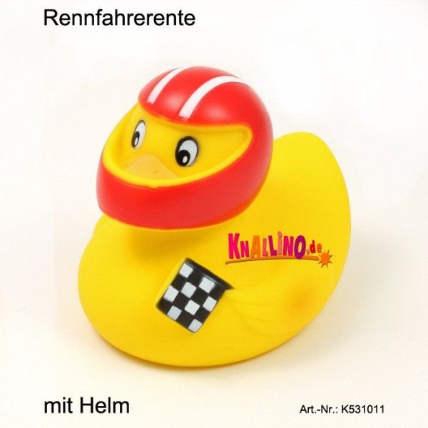 Rennfahrerente mit Helm