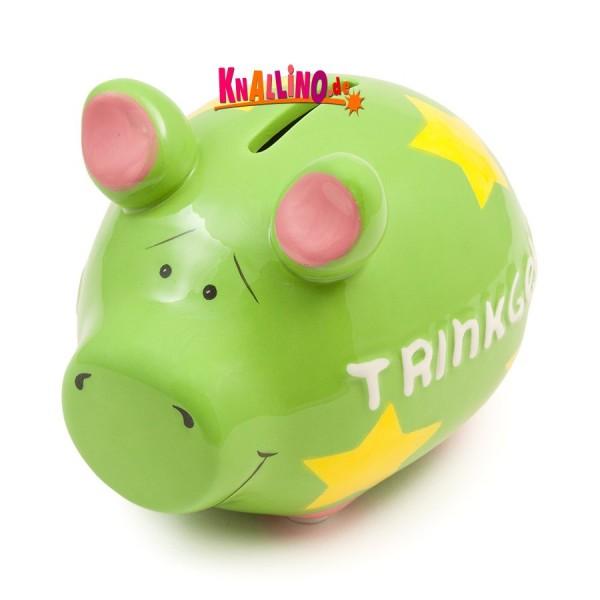 Trinkgeld grün Sparschwein