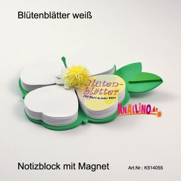 Blütenblätter weiß Notizblock mit Magnet