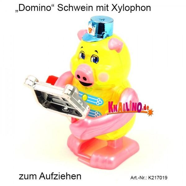 Z Wind Ups Domino Schwein mit Xylophon zum Aufziehen