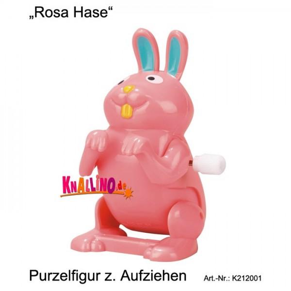 Rosa Hase Purzelfigur zum Aufziehen