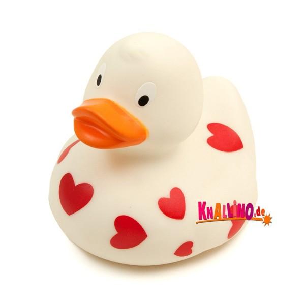 Ente weiß mit Herzen Badeente