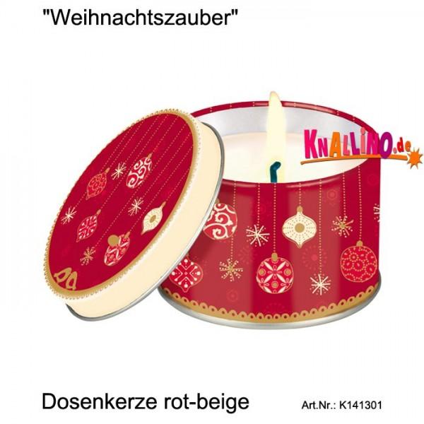 Weihnachtszauber Dosenkerze rot-beige