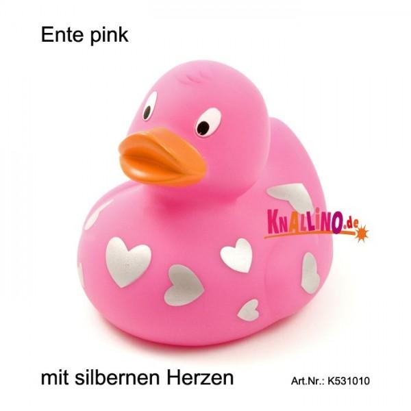 Ente pink mit silbernen Herzen