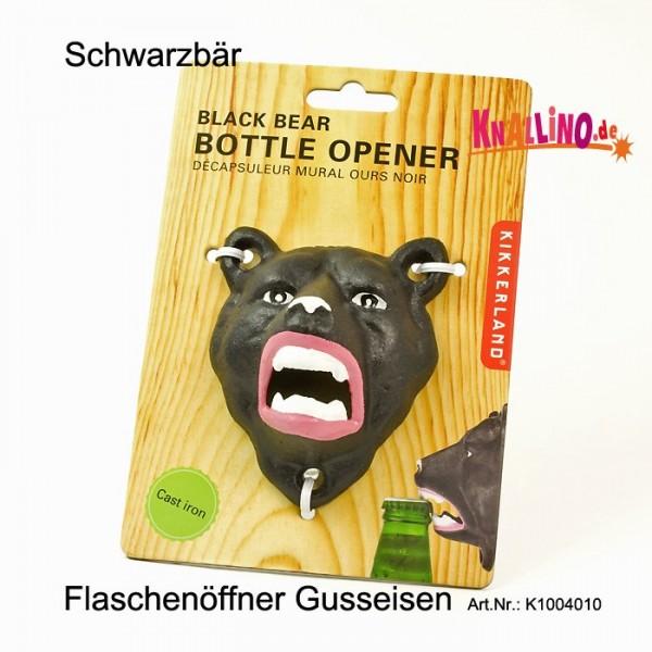 Schwarzbär Flaschenöffner aus Gussmetall zur Wandmontage
