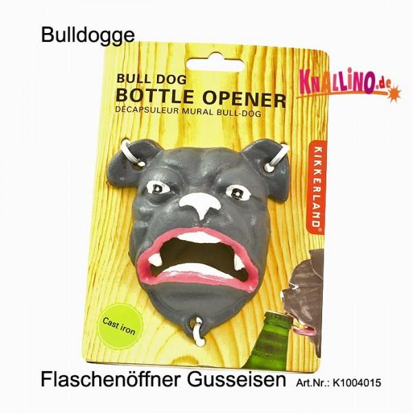 Bulldogge Flaschenöffner aus Gussmetall zur Wandmontage