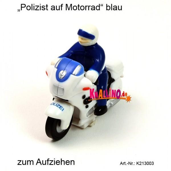 Polizist auf Motorrad blau zum Aufziehen