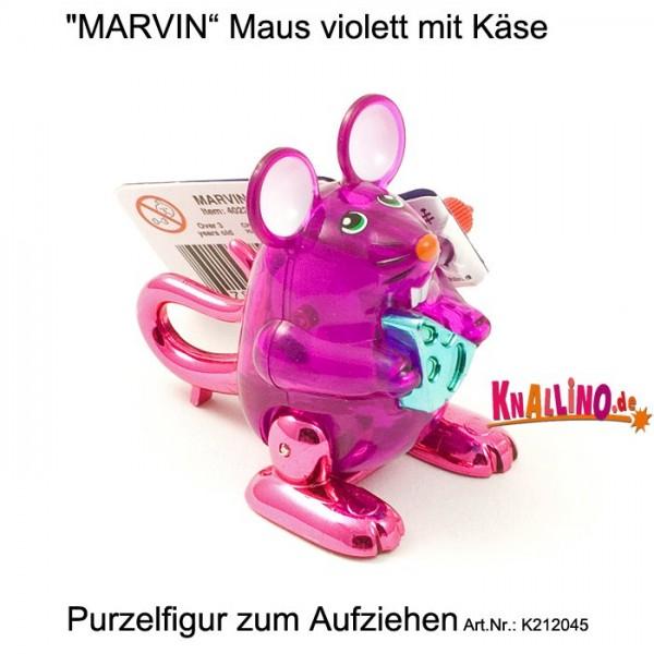 MARVIN Maus violett mit Käse Purzelfigur zum Aufziehen