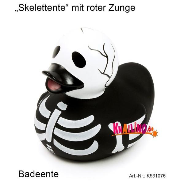 Skelettente mit roter Zunge Badeente