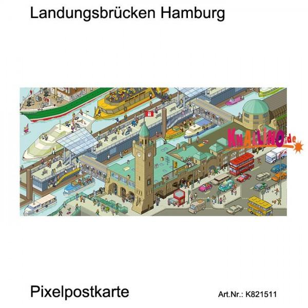 Landungsbrücken Hamburg Pixelpostkarte