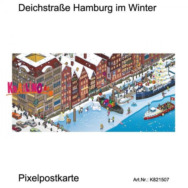 Deichstraße Hamburg im Winter Pixelpostkarte