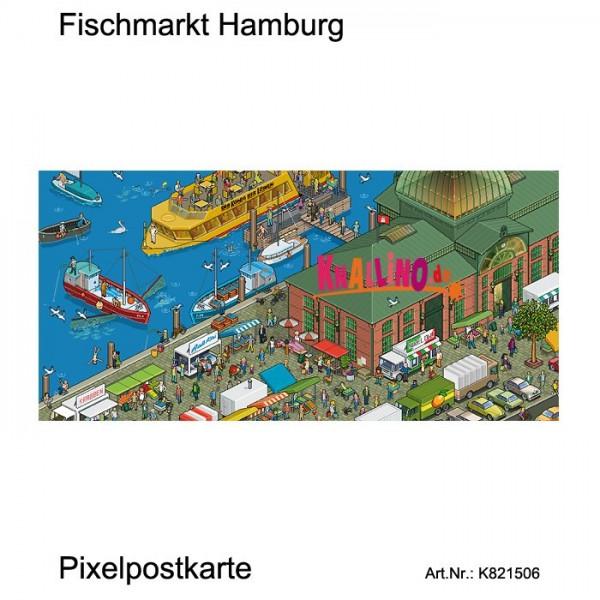 Fischmarkt Hamburg Pixelpostkarte