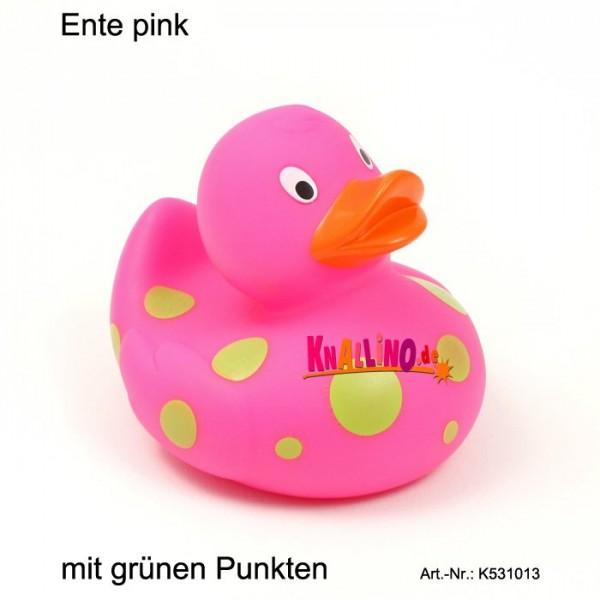Ente pink mit grünen Punkten